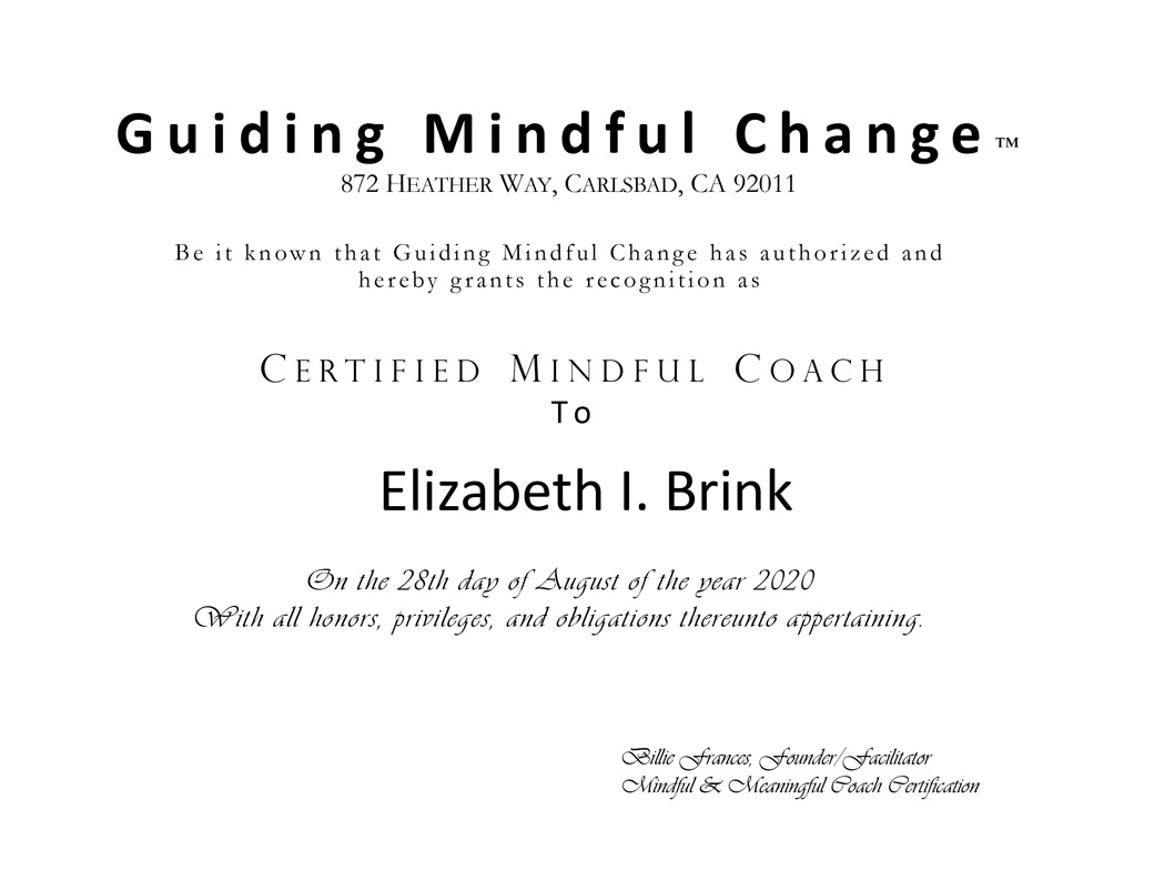 Certified Mindful Coach Betty Brink